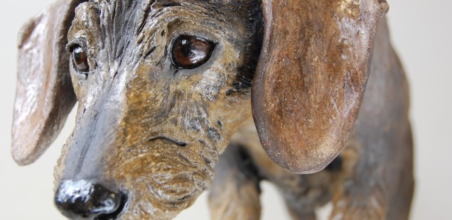 mini wire haired dachshund dog sculpture