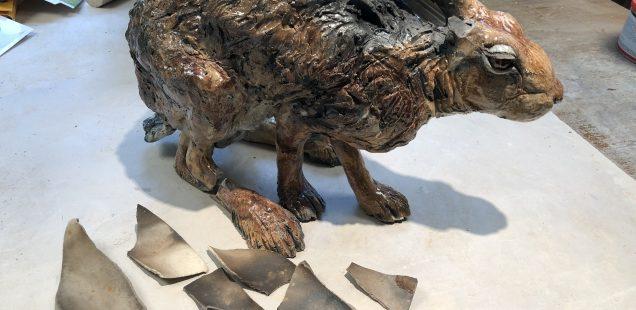 Broken Hare Sculpture