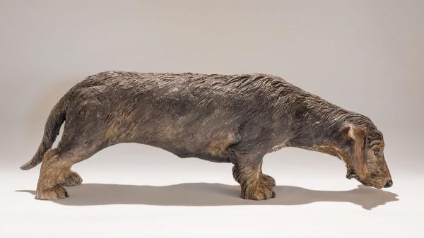 mini wire-haired dachshund dog sculpture
