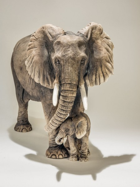 Elephant and baby Sculpture - Nick Mackman Animal Sculpture
