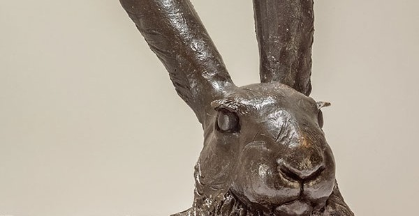Lying Hare Sculpture