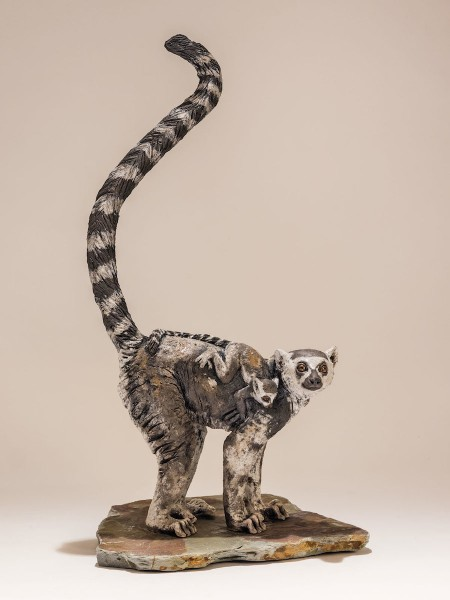 Ring-tail lemur sculpture