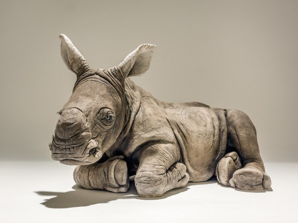 Baby white rhino sculpture