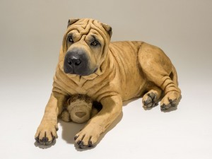 Shar Pei Dog Sculpture