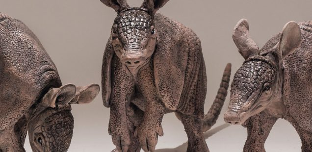 Three Armadillo Sculptures