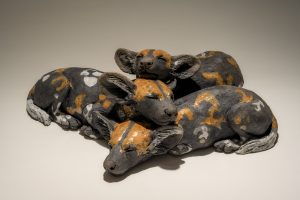 Wild Dog Pups Sculpture