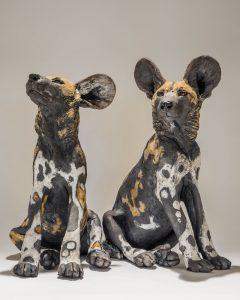 Wild Dog Pup Sculptures