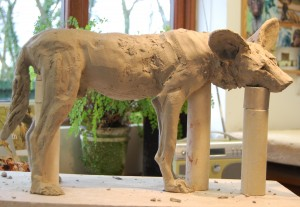painted dog sculpture