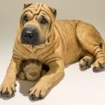 Shar Pei Dog Sculpture