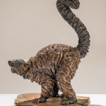 Red ruffed lemur sculpture