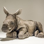 white rhino baby sculpture