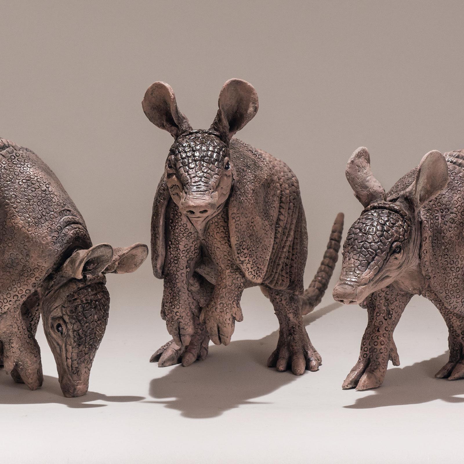 Three Armadillo Sculptures